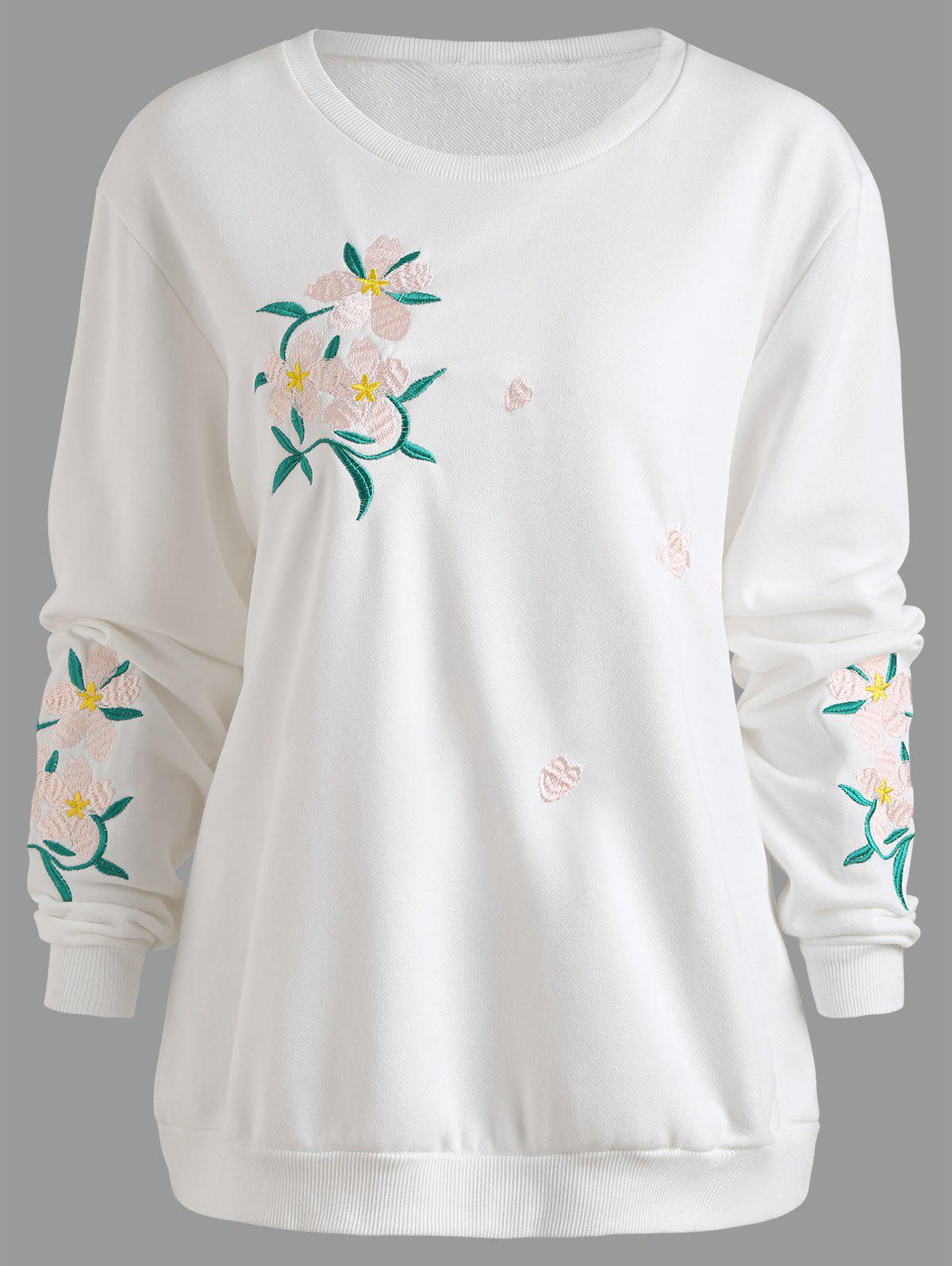Plus Size Floral Embellished Sweatshirt - WHITE 2XL
