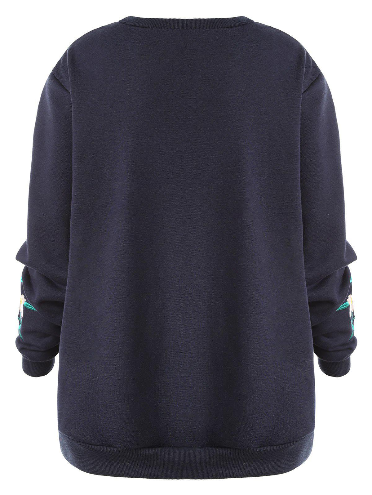 Plus Size Floral Embellished Sweatshirt - PURPLISH BLUE 4XL