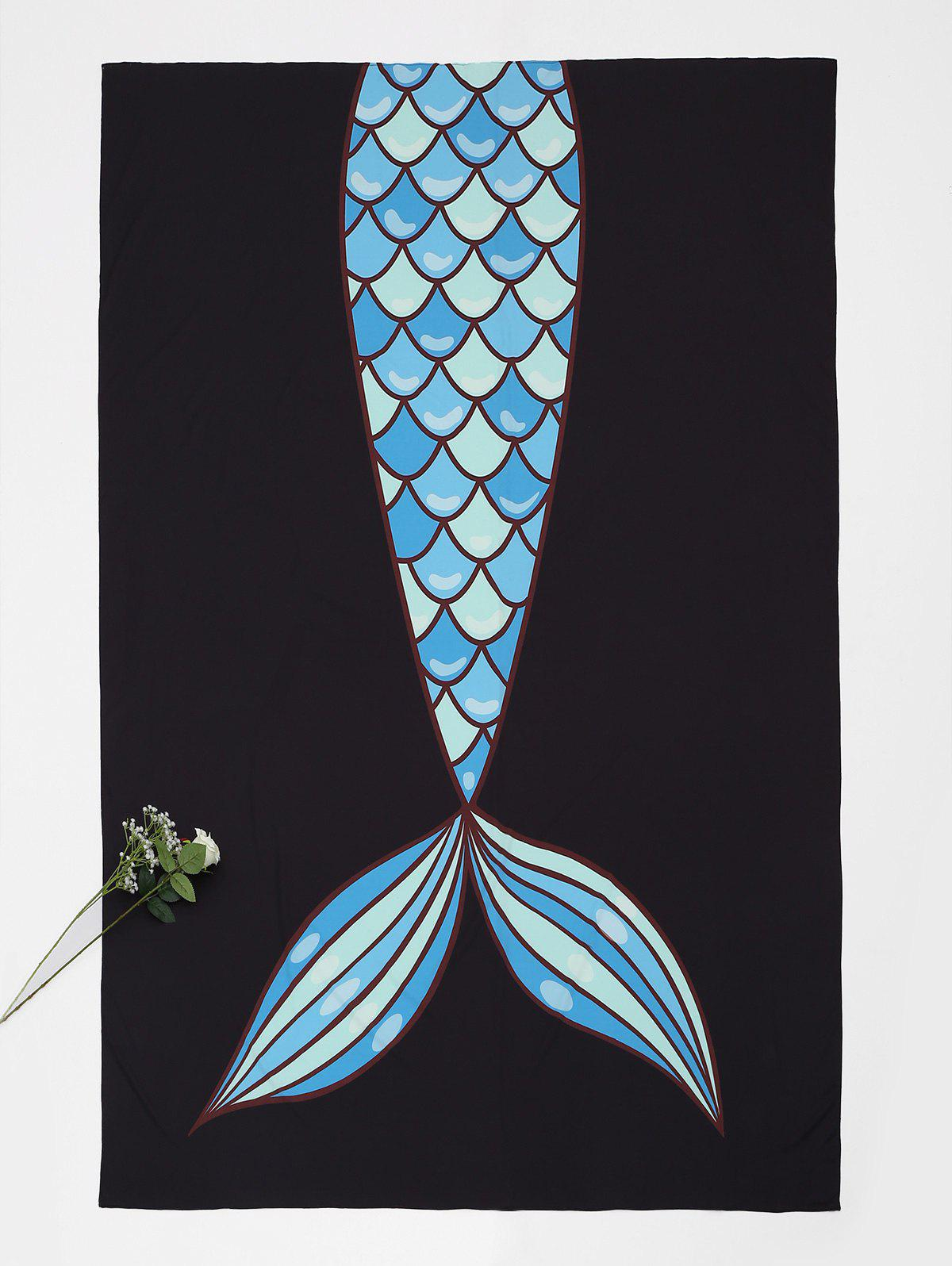 Fishtail Pattern Rectangle Beach Throw - BLACK ONE SIZE