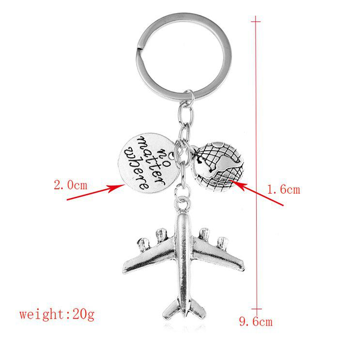 Aircraft Ornament Letter Printed Keychain - SILVER