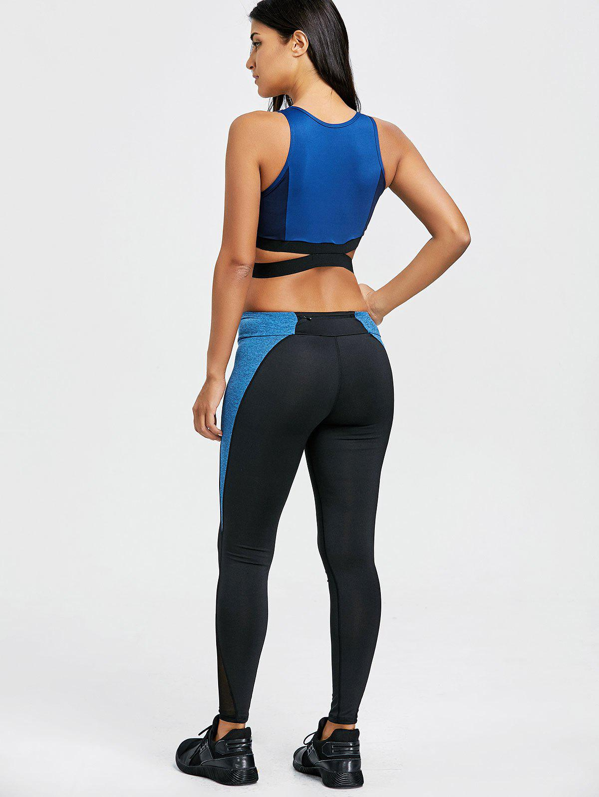 Color Block Criss Cross Three Piece Gym Outfits - BLUE M