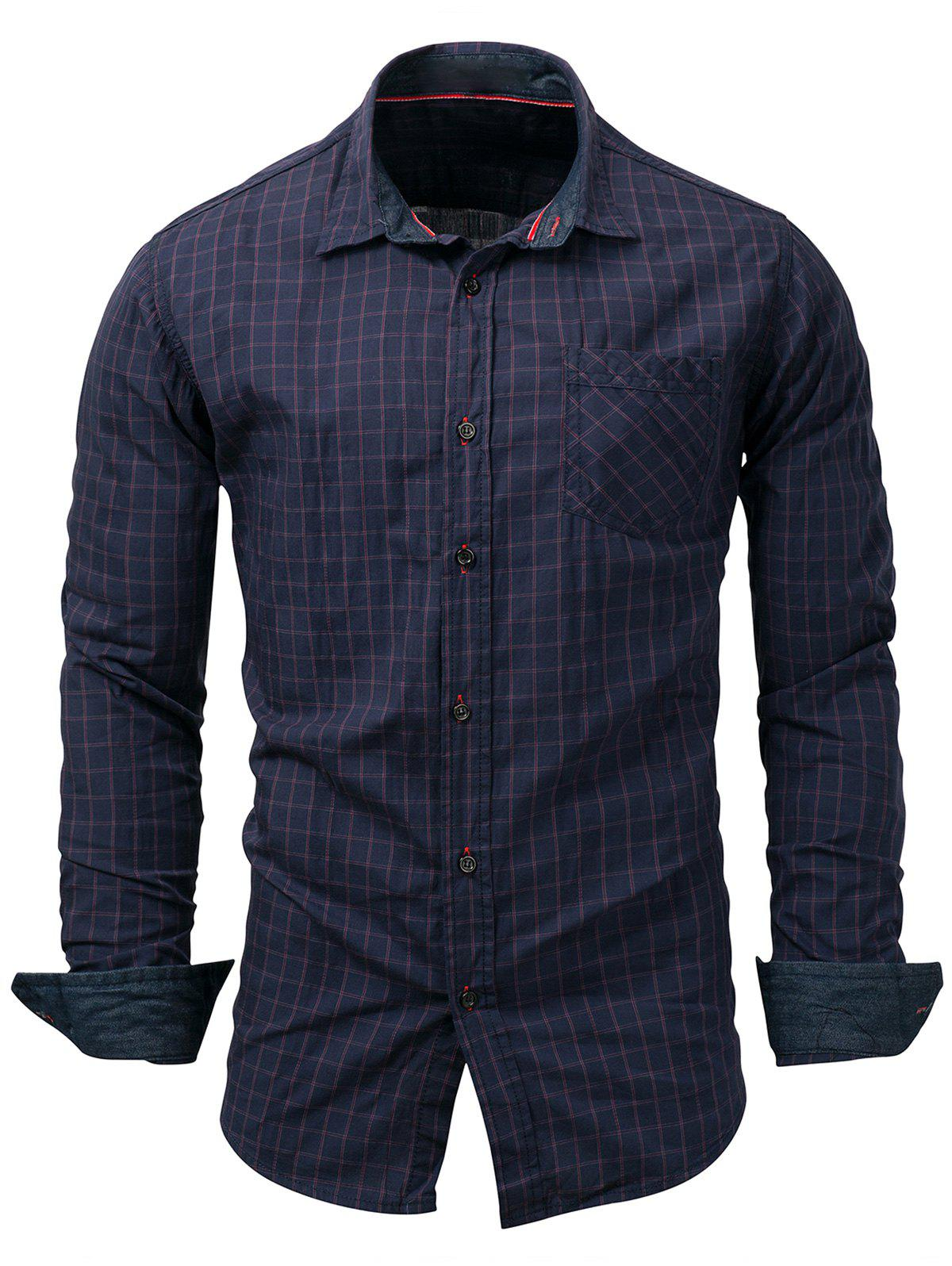 Chest Pocket Long Sleeve Checked Shirt автокресло zlatek atlantic группа 1 2 3 grey крес0167