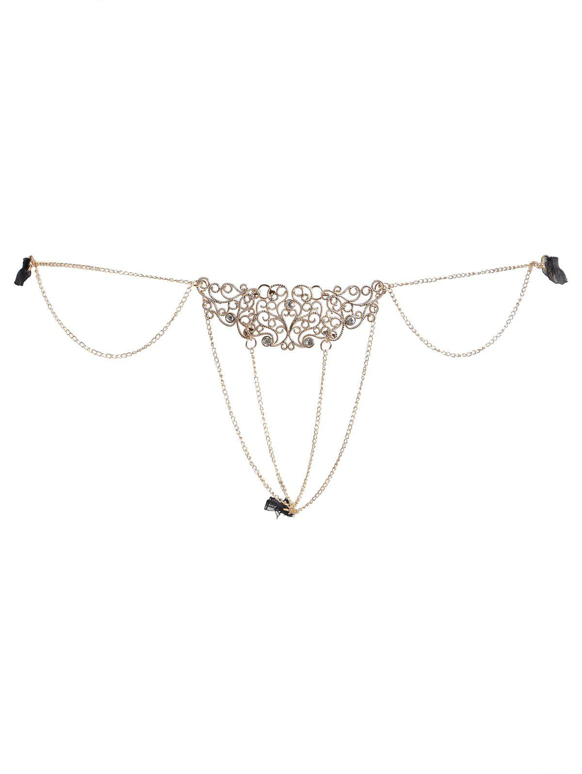 Chains Rhinestone Lingerie G-string - BLACK ONE SIZE