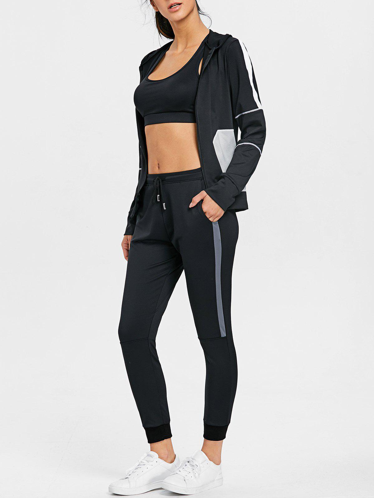 High Waisted Color Block Three Piece Gym Outfits - BLACK L
