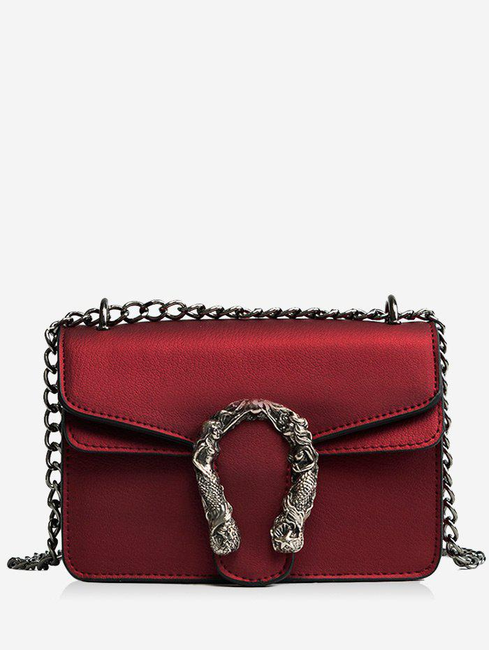 Chain Metal Embellished Flap Crossbody Bag