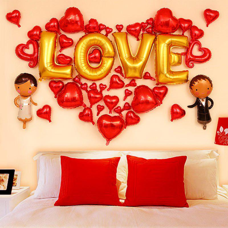 Wedding Party Decoration Love Hearts Balloons Set - RED