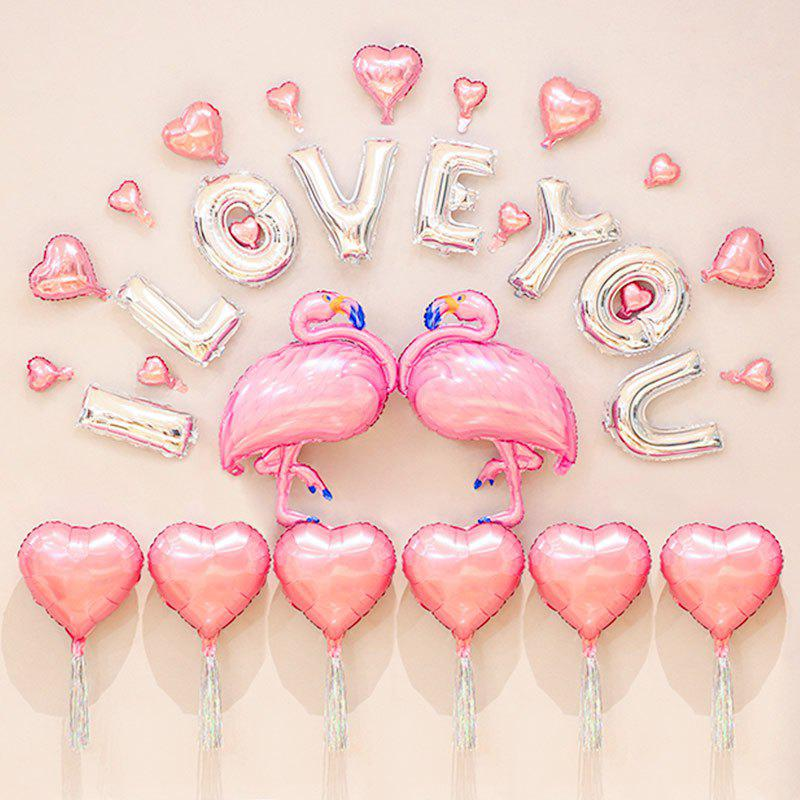 I Love You Hearts Flamingos Shape Party Decoration Balloons Set - PINK