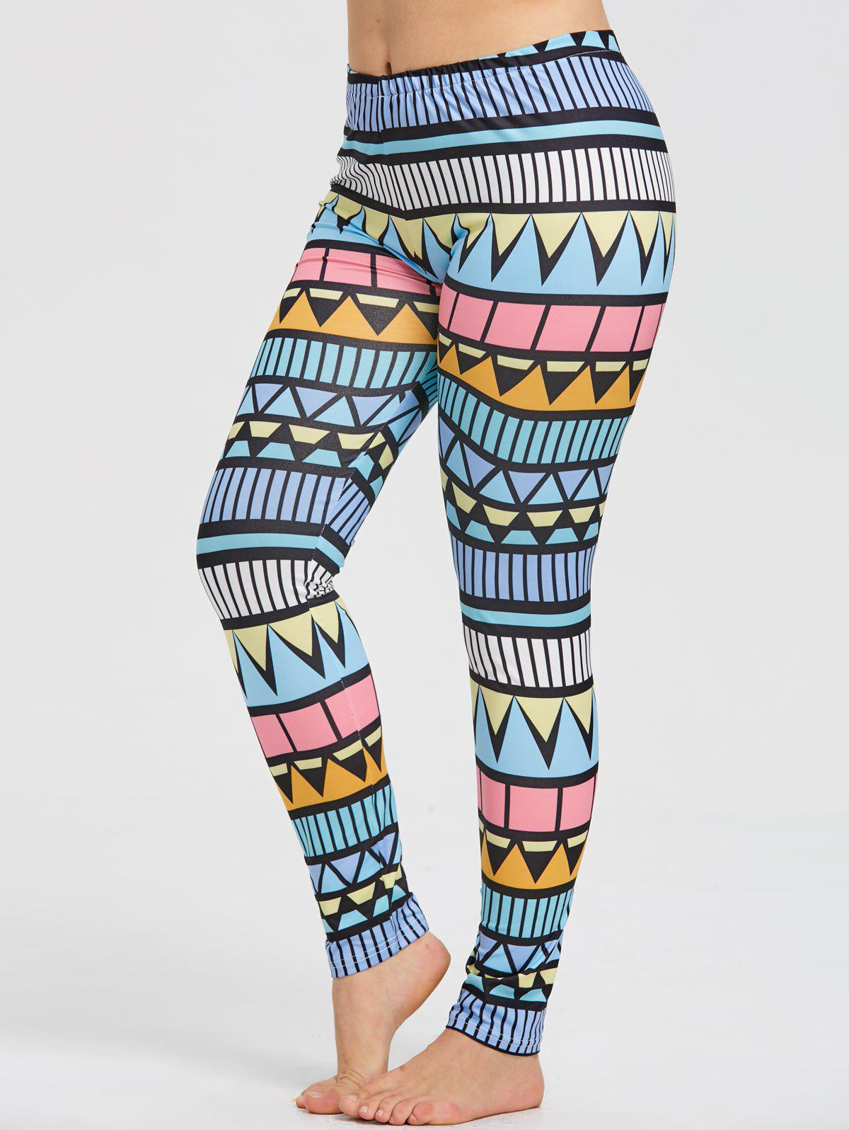 Plus Size Triangle Print Yoga Leggings - multicolorCOLOR 5XL