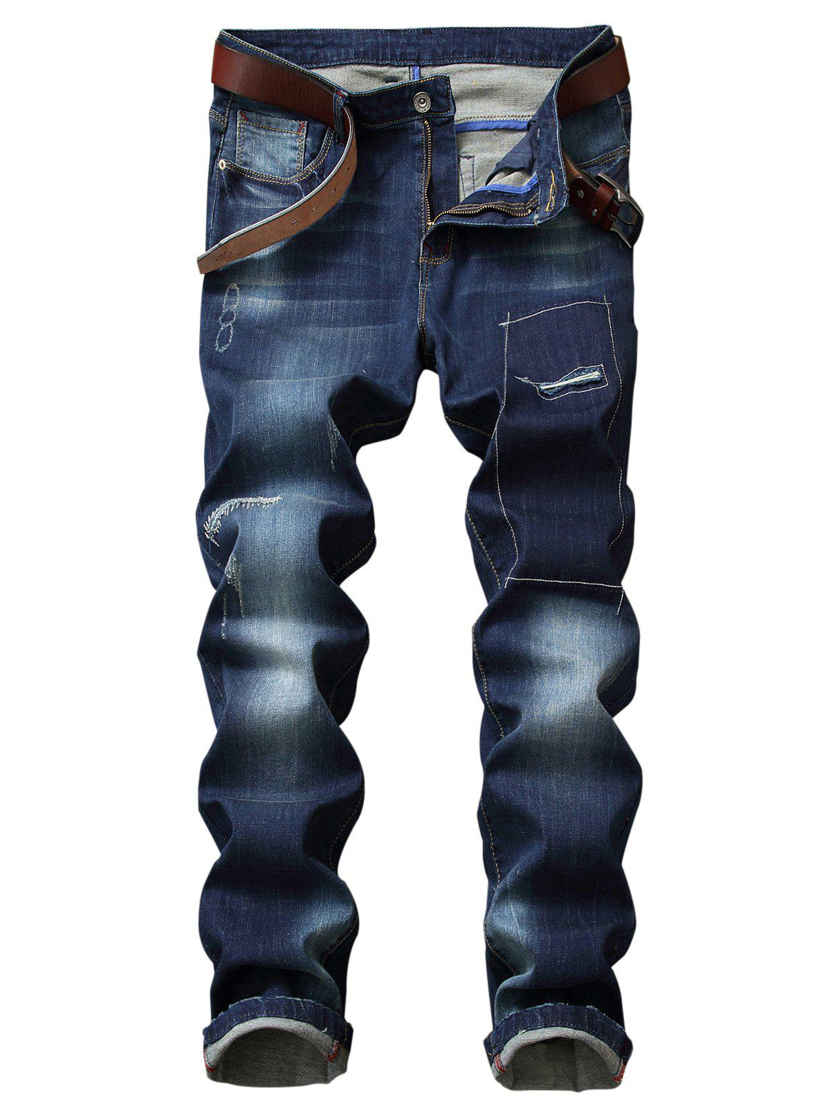 Patches Detail Faded Wash Straight Leg Jeans slim fit faded straight jeans
