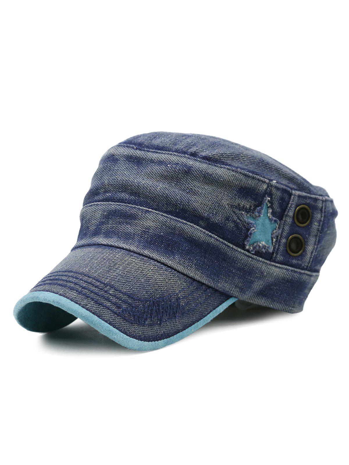 Outdoor Star Pattern Decorated Washed Military Cap - BLUE