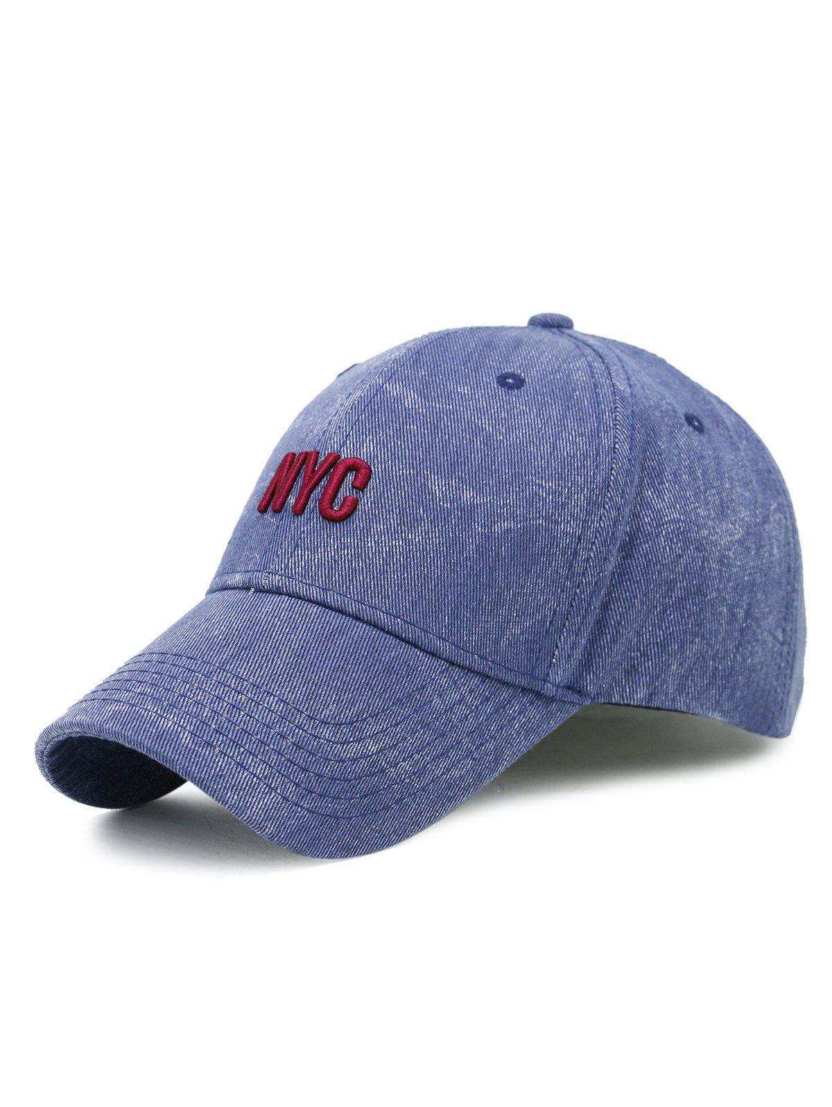 2018 Unique Nyc Embroidery Washed Baseball Hat Cerulean In Hats