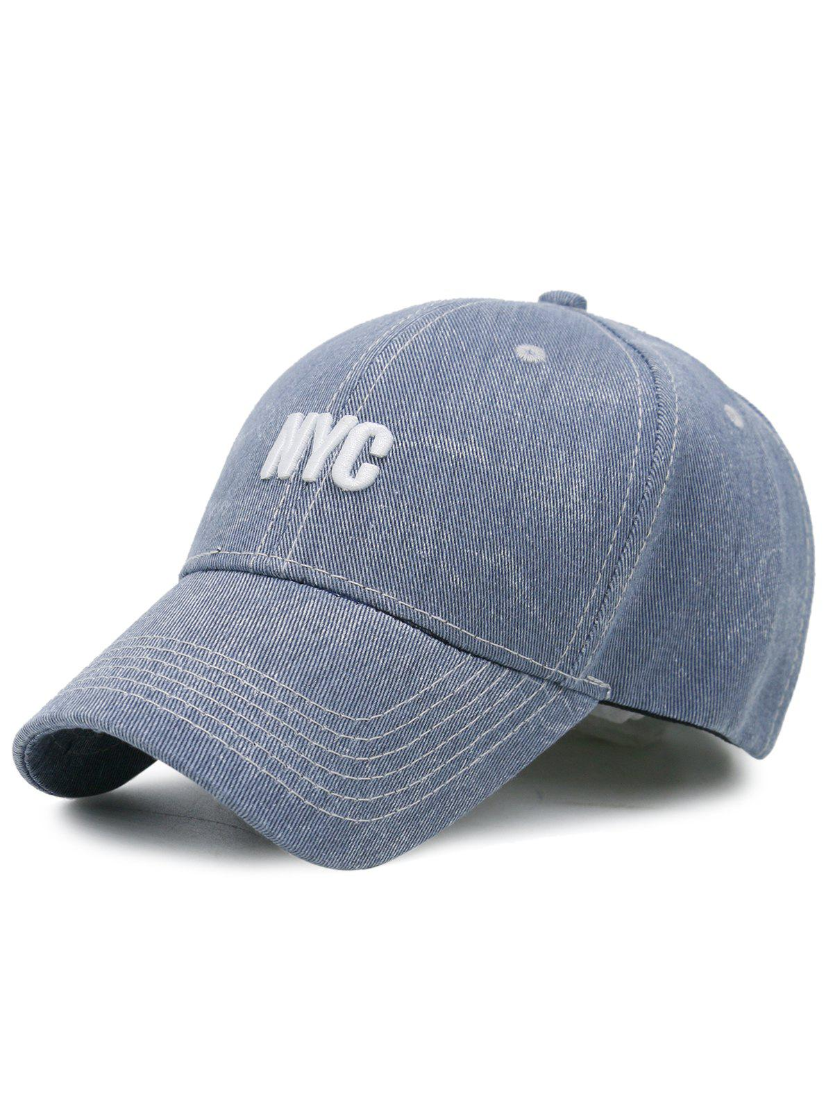 2018 Unique Nyc Embroidery Washed Baseball Hat Light Blue In Hats