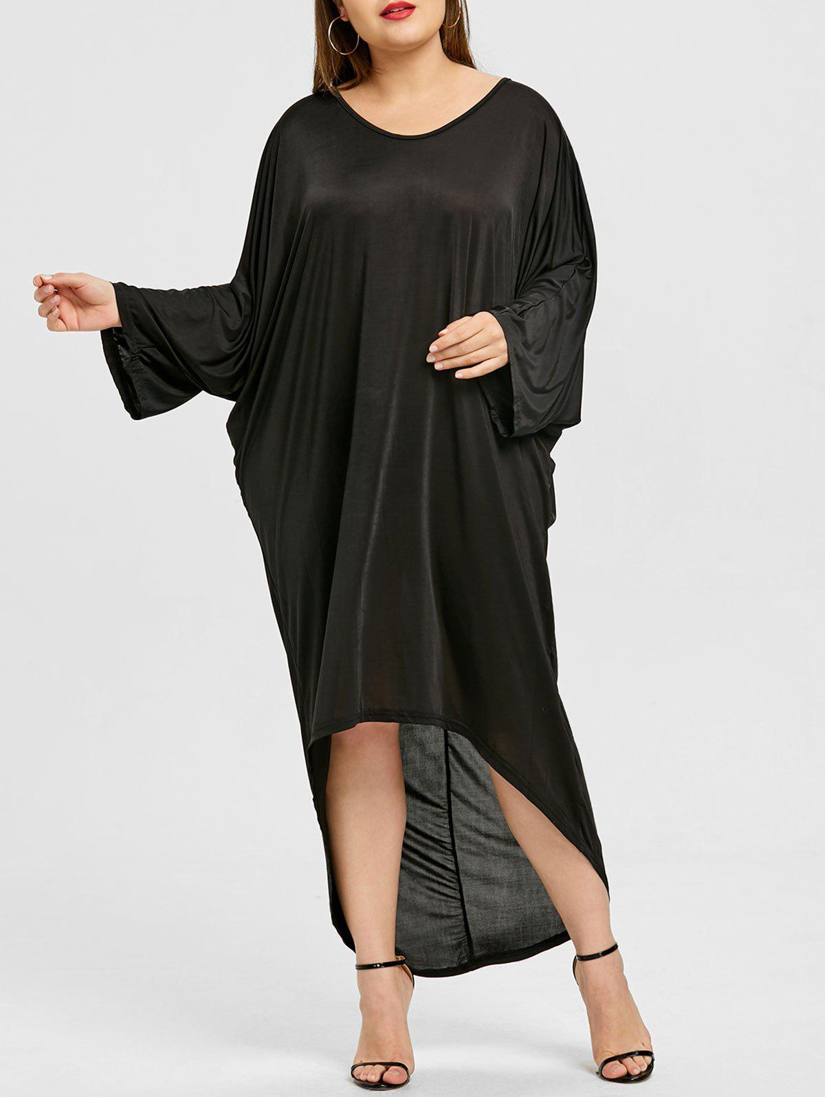 Plus Size Back Ladder Cut Out Dip Hem Dress