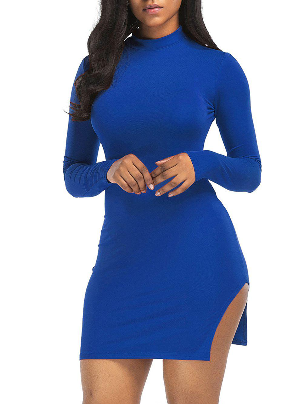 High Neck Slit Mini Bodycon Dress - BLUE XL
