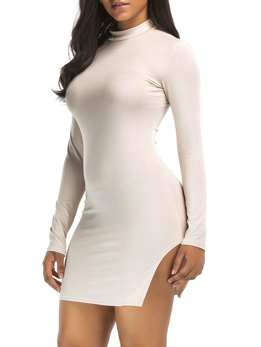 High Neck Slit Mini Bodycon Dress - LIGHT KHAKI XL