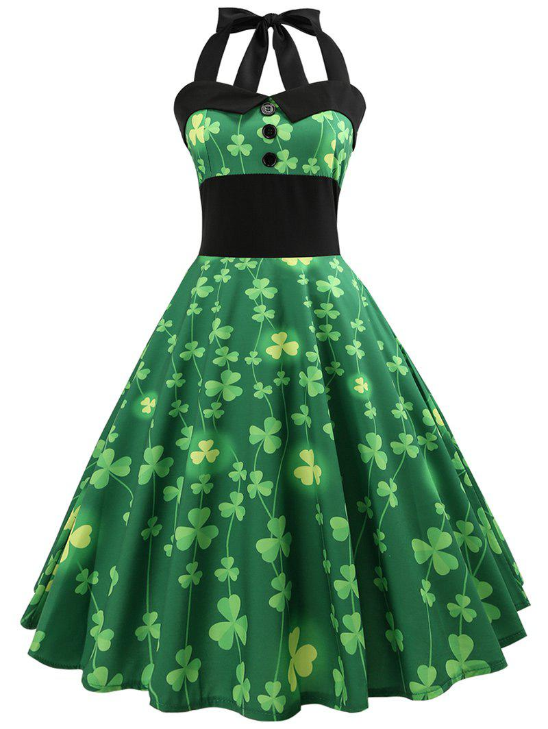 Vintage Pin Up Halter Smocked Party Dress - GREEN M