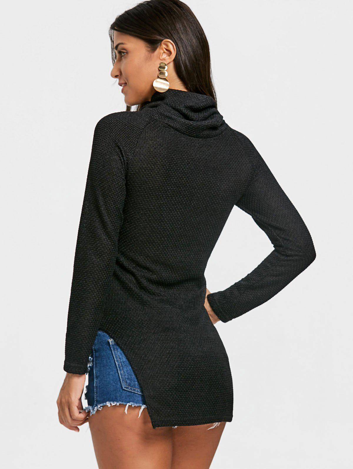 Cowl Neck Side Tunic Slit Sweater - BLACK S