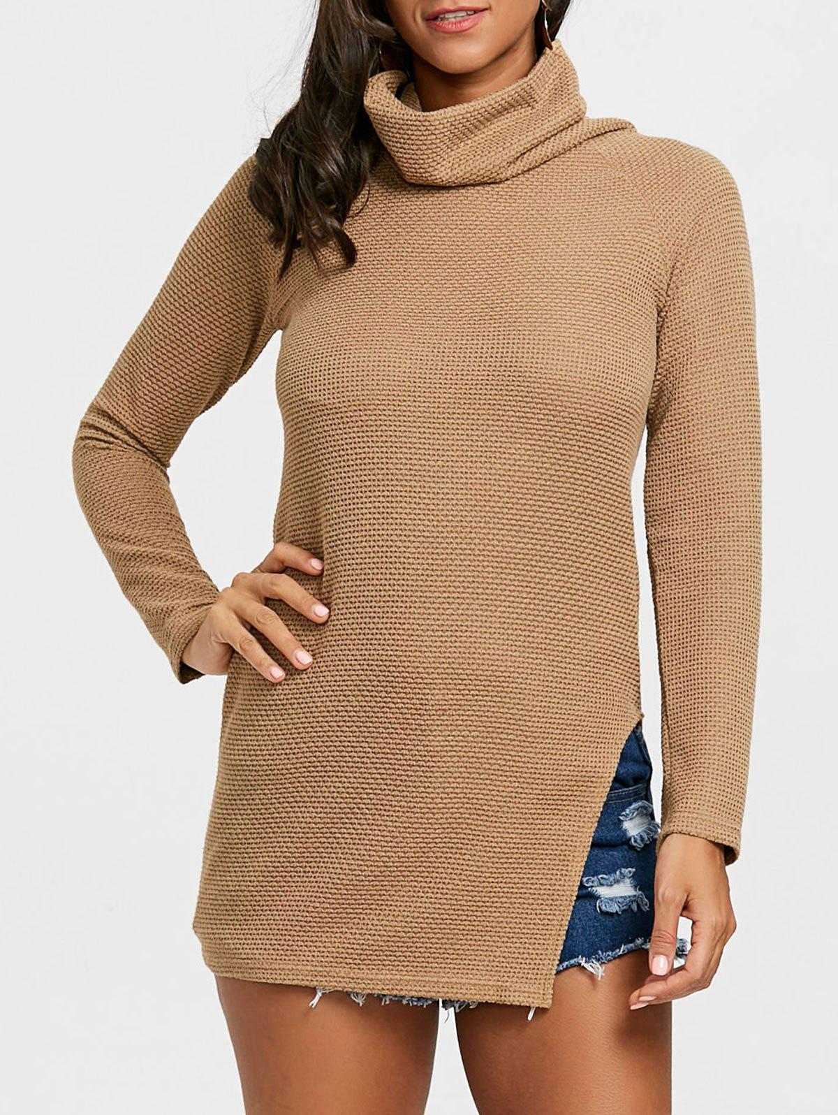 Cowl Neck Side Tunic Slit Sweater - KHAKI L