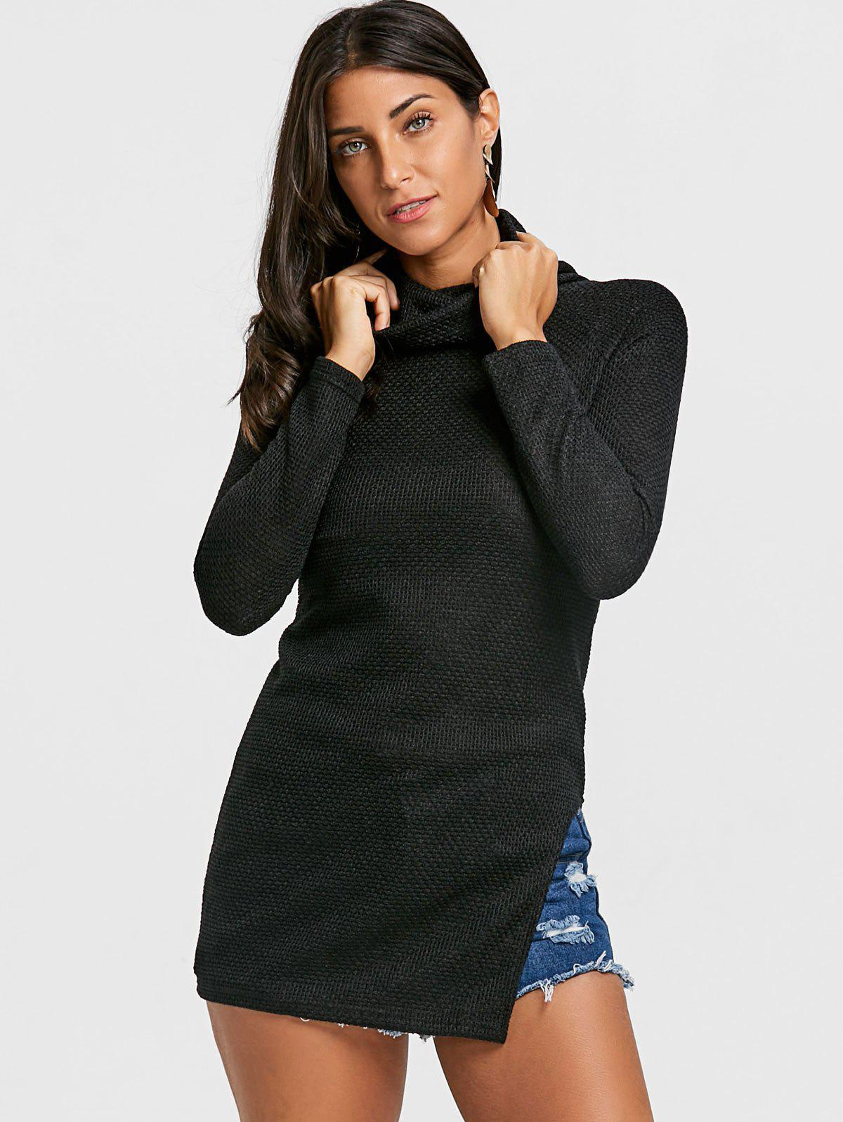 Cowl Neck Side Tunic Slit Sweater - BLACK M