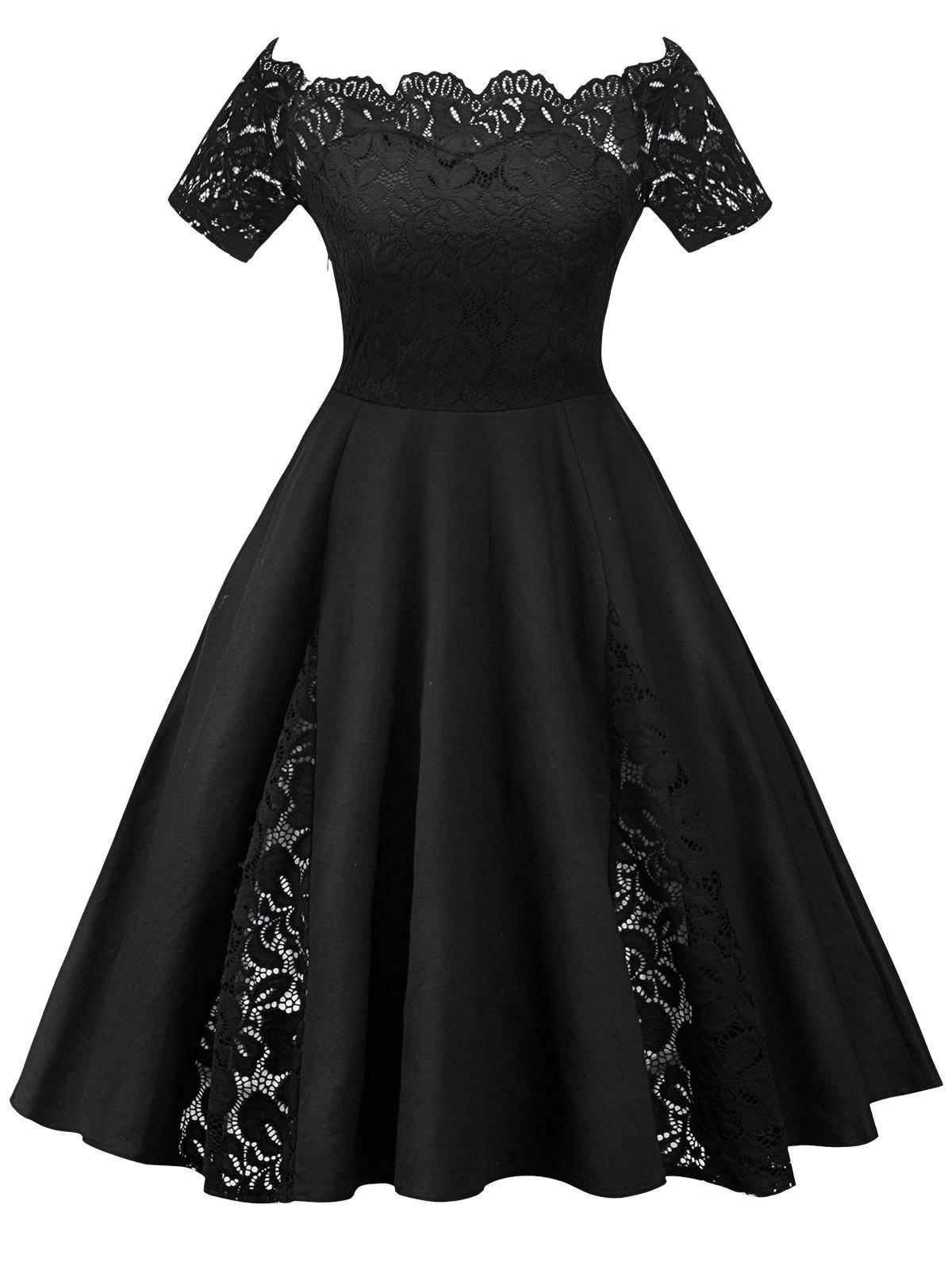 Plus Size Off Shoulder Lace Panel Dress - BLACK 2XL