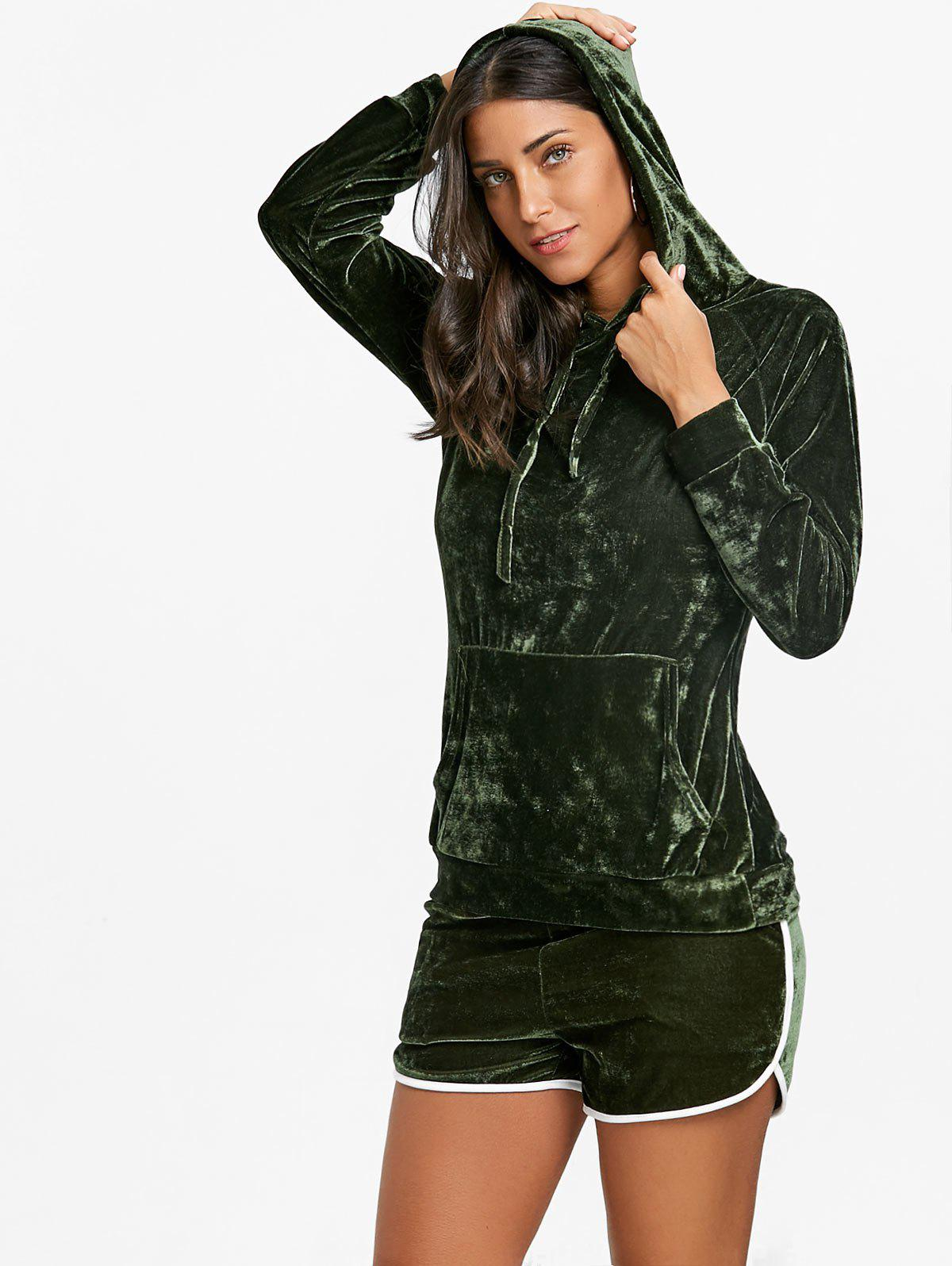 Drawstring Velvet Hoodie and Dolphin Shorts - ARMY GREEN S