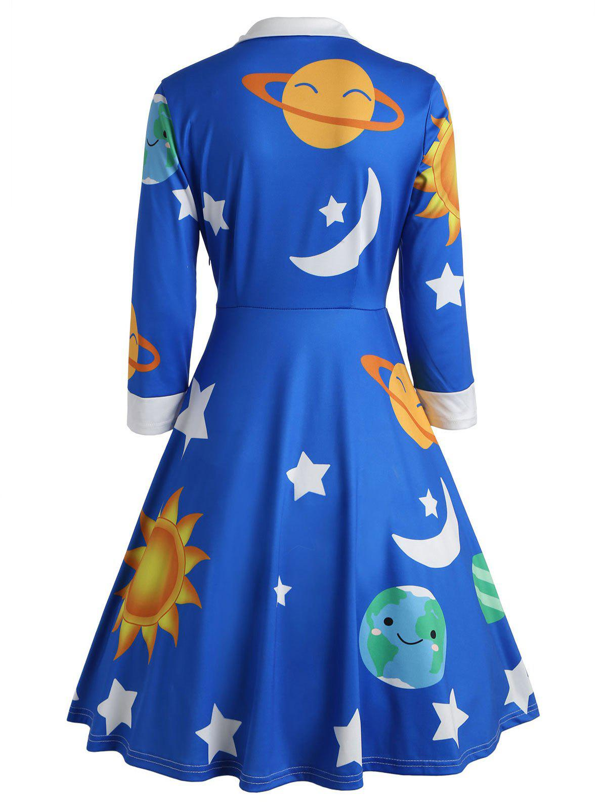 Sun and Moon Print Flare Vintage Dress - BLUE 2XL