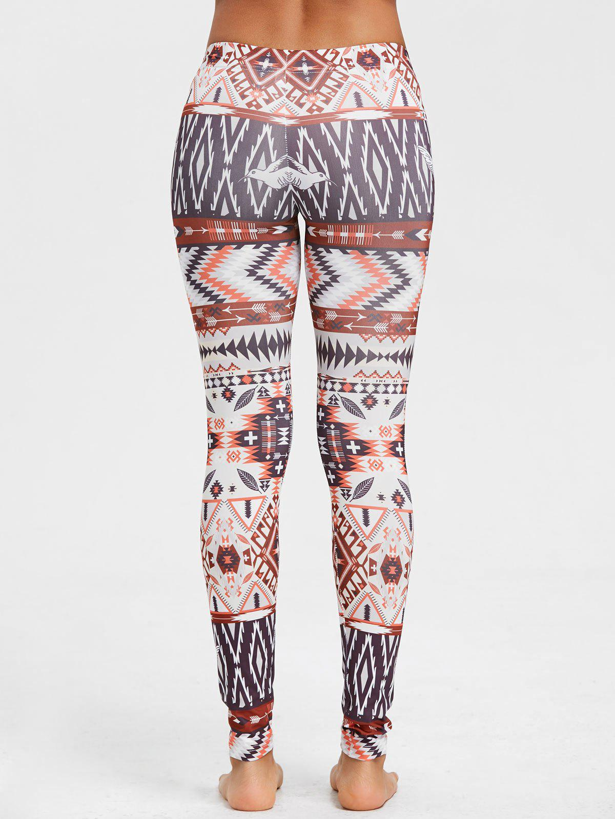 Geometric Print Behemian Leggings - COLORMIX XL