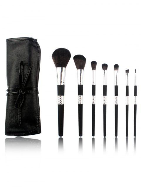 Professional 7Pcs Ultra Soft Fiber Hair Cosmetic Brush Set with Bag - SILVER