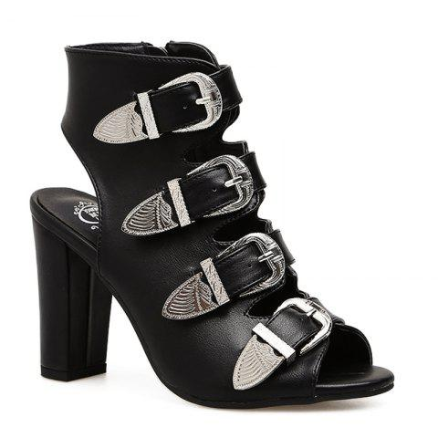Buckle Strap Back Cut Out  Boots - BLACK 36