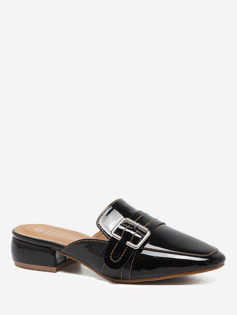 Low Heel Buckled Mules Shoes - BLACK 37