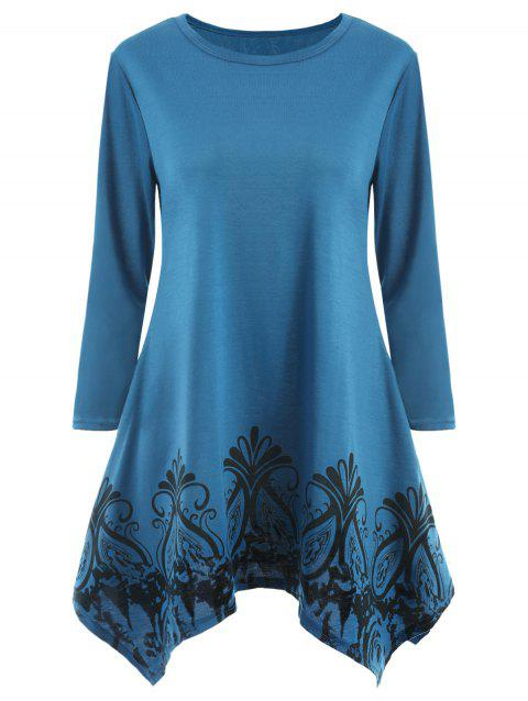 Tribal Print Long Sleeve Mini Swing Dress - OCEAN BLUE L