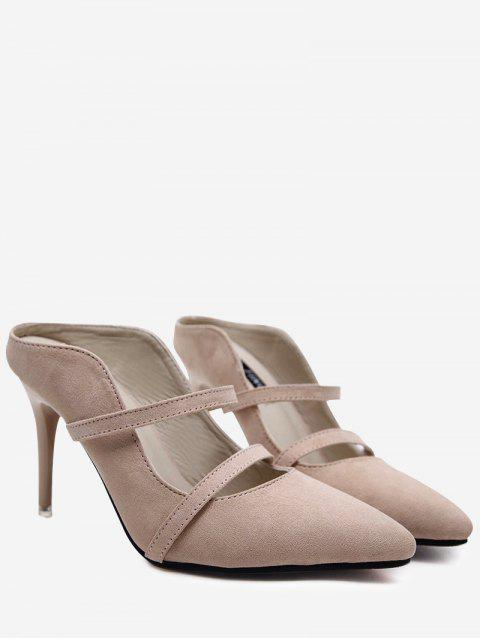 11eb63177 41% OFF] 2019 Two Straps High Heel Mules Shoes In APRICOT | DressLily