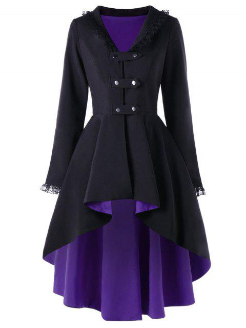 Lace Trimmed High Low Gothic Coat - PURPLE L