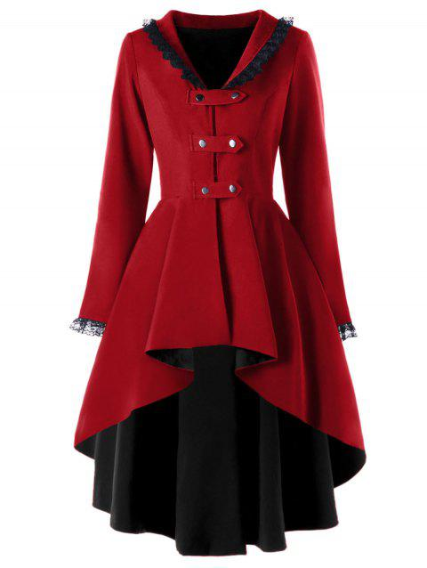 Lace Trimmed High Low Gothic Coat - WINE RED 2XL