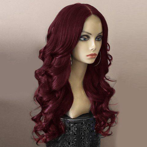 Long Middle Parting Fluffy Body Wave Synthetic Wig - WINE RED