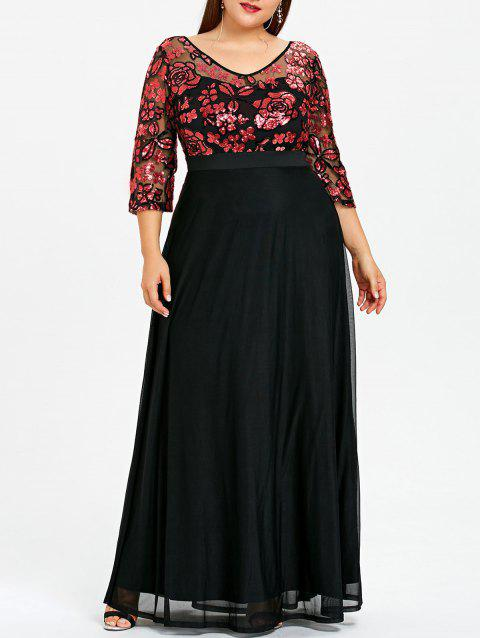Plus Size Sequined Floral Sheer Prom Dress - RED XL