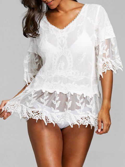 Flare Sleeve V Neck Crochet Trim Cover Up - WHITE ONE SIZE