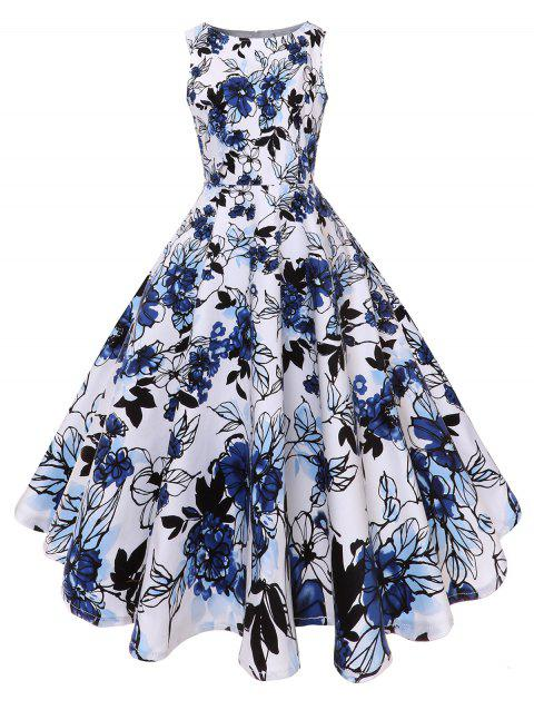 Floral Fit and Flare Midi Vintage Dress - BLUE 2XL