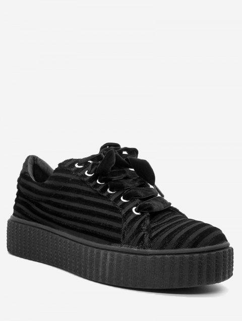 Faux Suede Lace Up Sneakers - BLACK 39