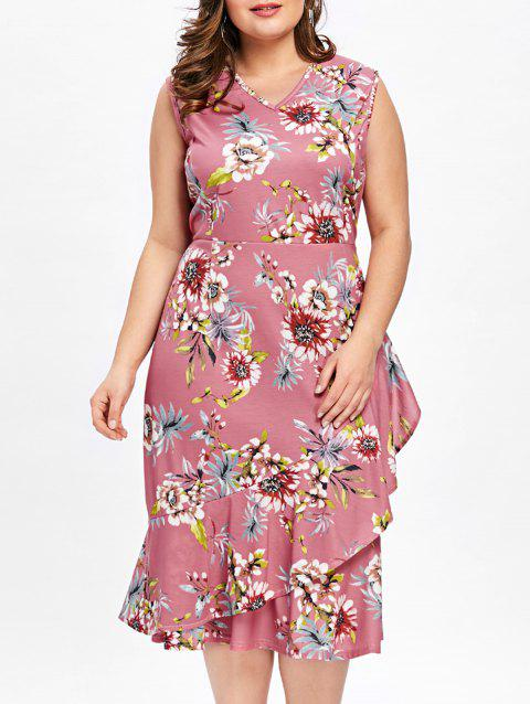 17% OFF] 2019 Plus Size Tiny Floral Ruffle Overlap Hawaiian Dress In ...