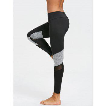 Two Tone Mesh Insert Capri Leggings - BLACK/GREY M
