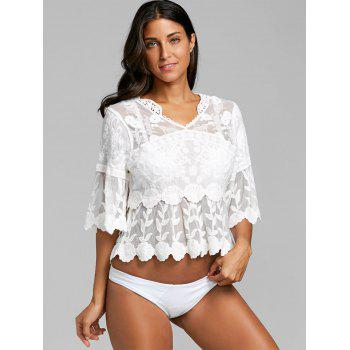 Flare Sleeve Flower Leaf Jacquard Cover Up Top - WHITE ONE SIZE