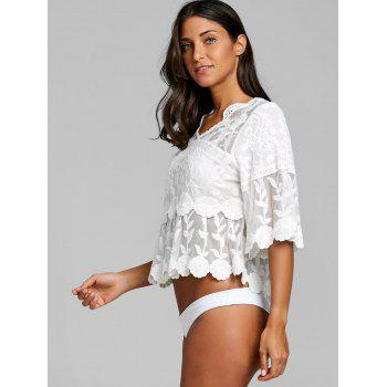 Flare Sleeve Flower Leaf Jacquard Cover Up Top - WHITE WHITE
