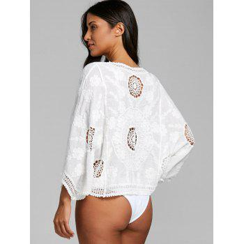 Floral Jacquard Pullover Crochet Cover Up Top - WHITE ONE SIZE