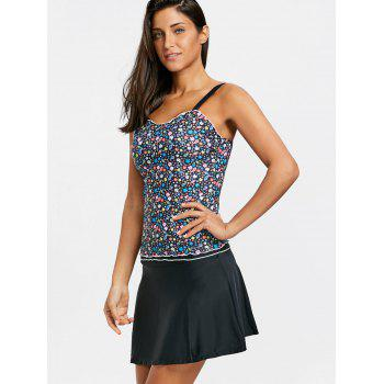Floral Two Piece Skirted Tankini Swimsuit - COLORMIX S
