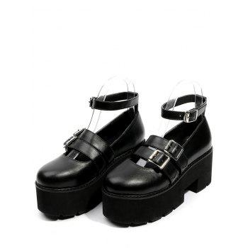 Round Toe Double-buckled Platform Shoes - BLACK 36