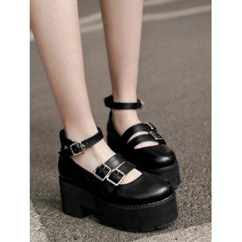 Round Toe Double-buckled Platform Shoes - BLACK BLACK