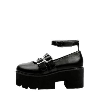 Round Toe Double-buckled Platform Shoes - BLACK 39