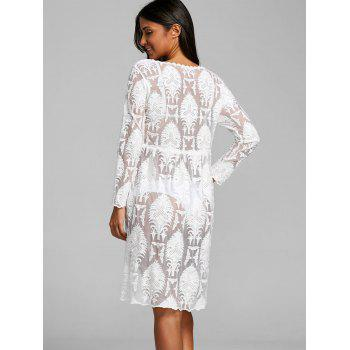 High Waist Arab Jacquard Lace Cover Up Dress - WHITE ONE SIZE