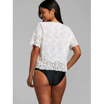Open Front Short Sleeve Crochet Cover Up Top - WHITE ONE SIZE